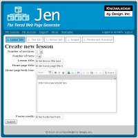 Screenshot of Jen: The Tiered Web Page Generator website